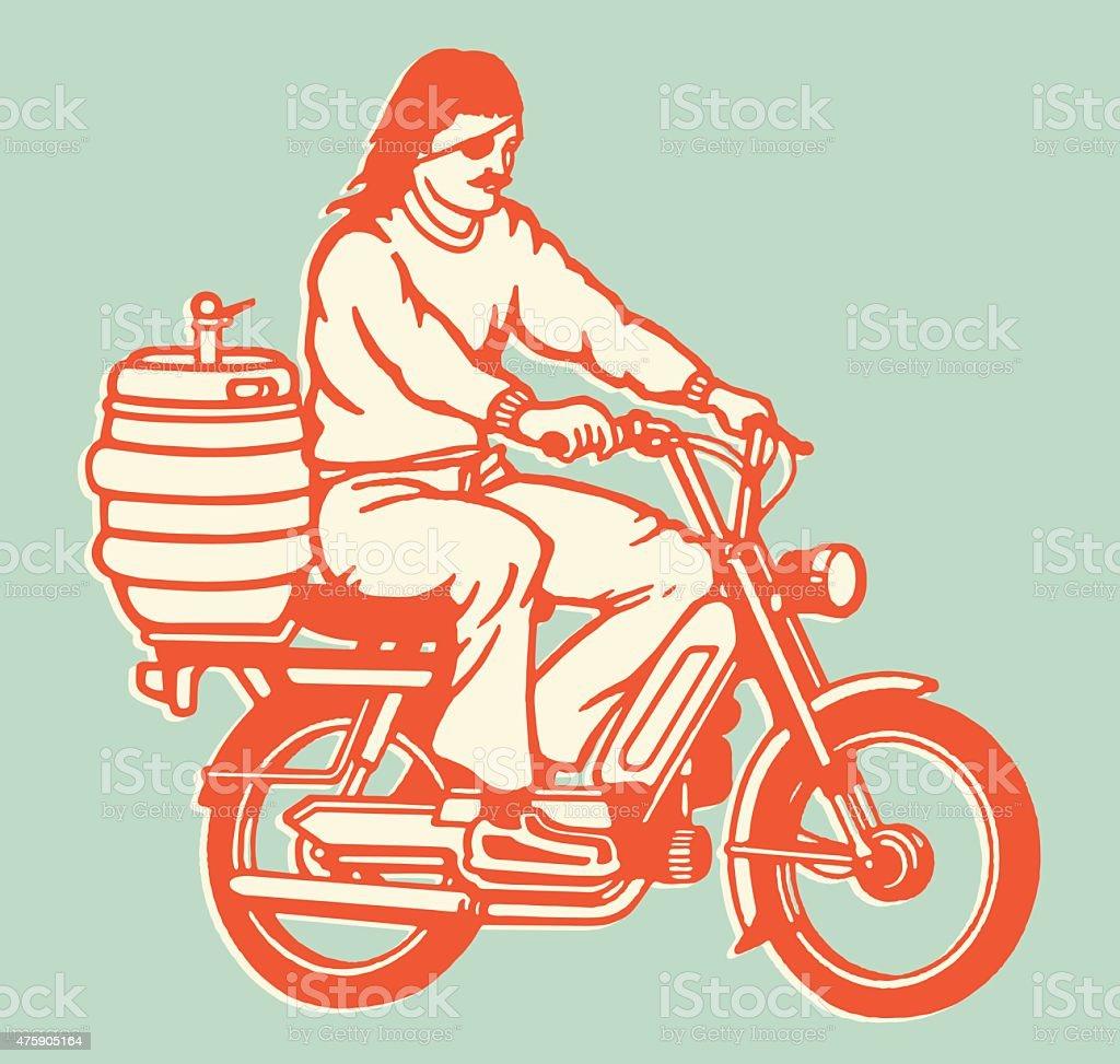 Moped Guy With Keg on the Back vector art illustration