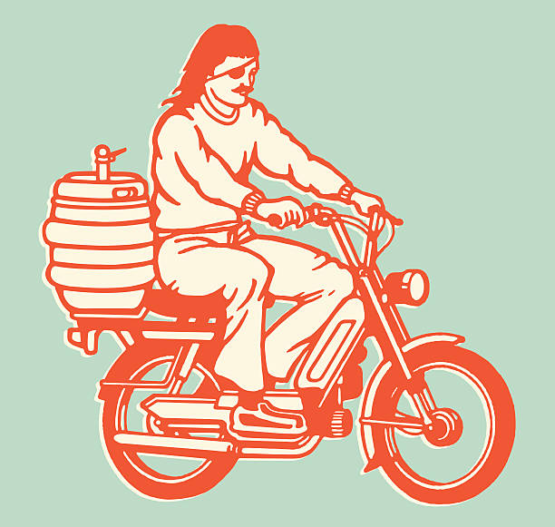 moped guy with keg on the back - bachelor party stock illustrations, clip art, cartoons, & icons