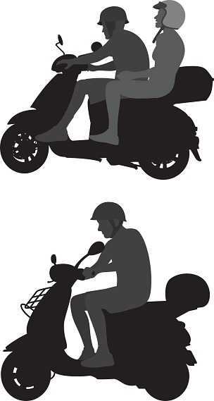 Moped Rider Silhouettes