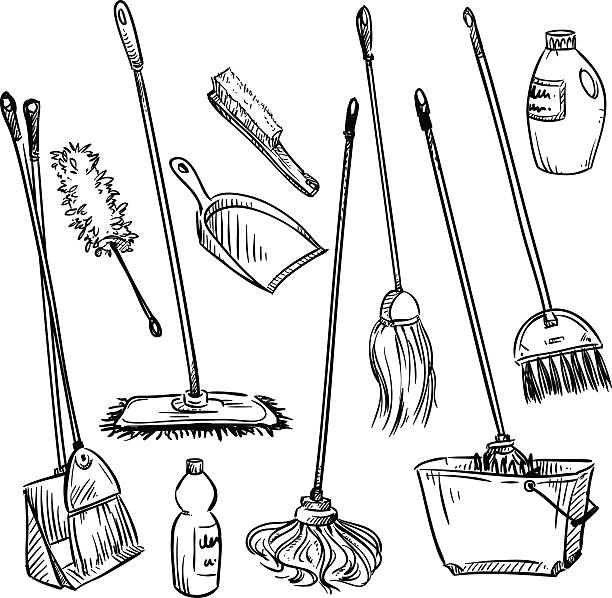 mops. set of cleaning tools. - bleach stock illustrations