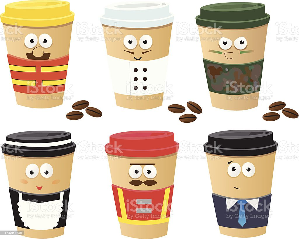 More Coffee Cups Characters royalty-free stock vector art