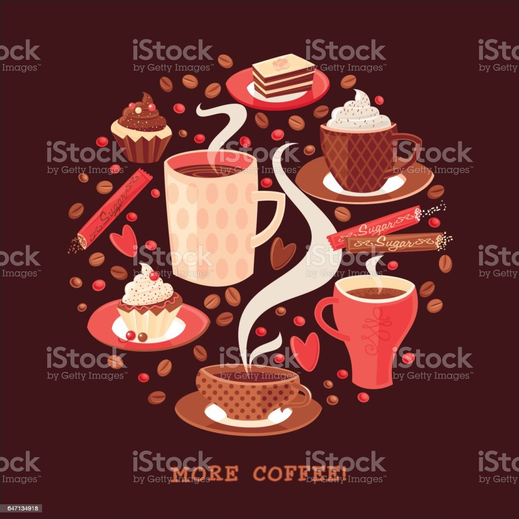 More coffee! Coffee circle pattern. Vector illustration.