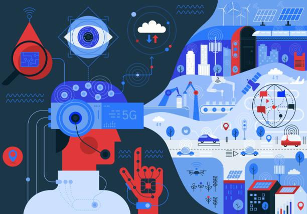 Mehr Vernetzte Welt 5G – Vektorgrafik
