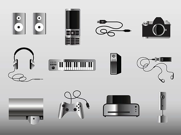 More Gadget Icons Metal vector art illustration