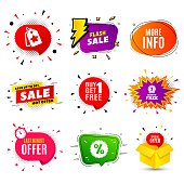 More info symbol. Banner badge, flash sale bubble. Navigation sign. Read description. Last minute offer. Sticker badge, comic bubble. Discounts box. Vector