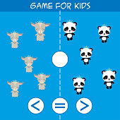 More, less or equal. Goat and panda animals pictures for kids. Cartoon vector illustration