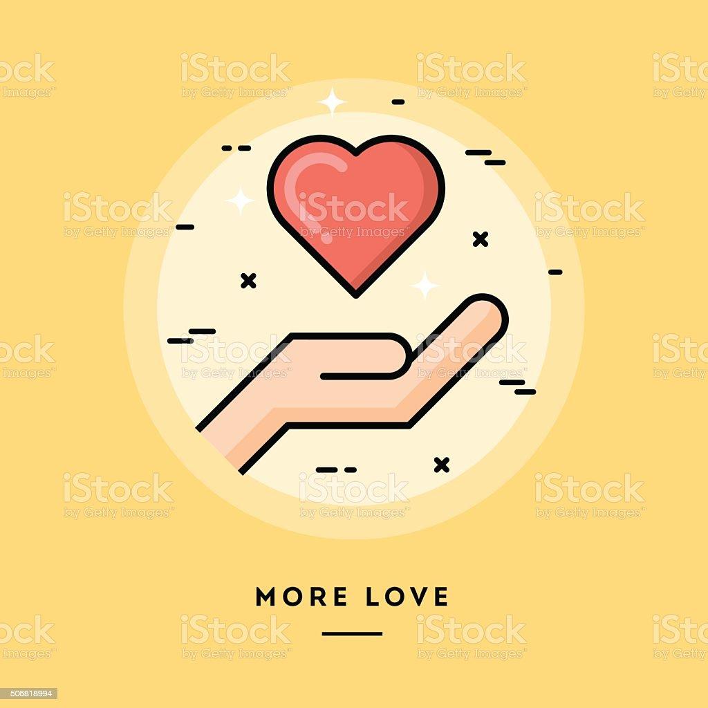More love, flat design thin line banner vector art illustration