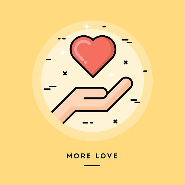 ilustrações de stock, clip art, desenhos animados e ícones de mais amor, projeto plano banners de linha fina - coração fraco