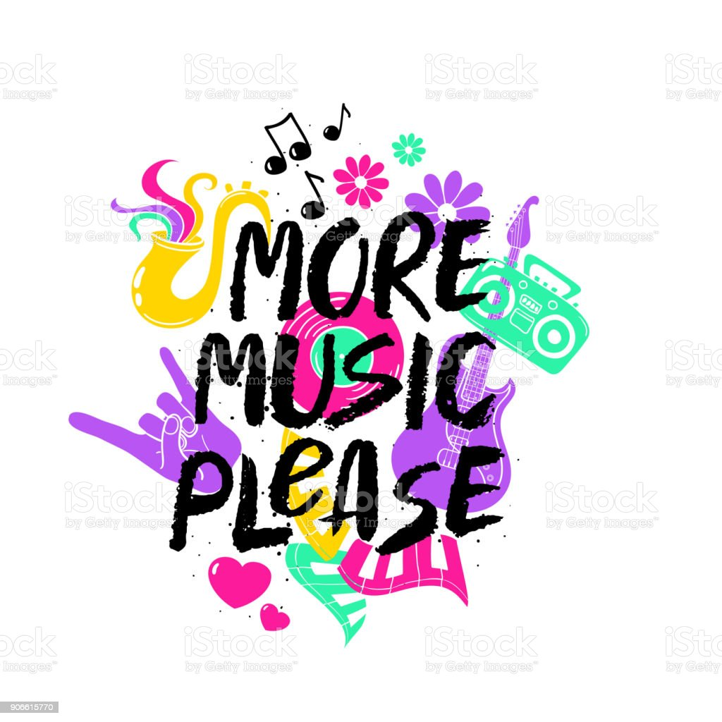 More Music Please Lettering With Funny Symbols Stock