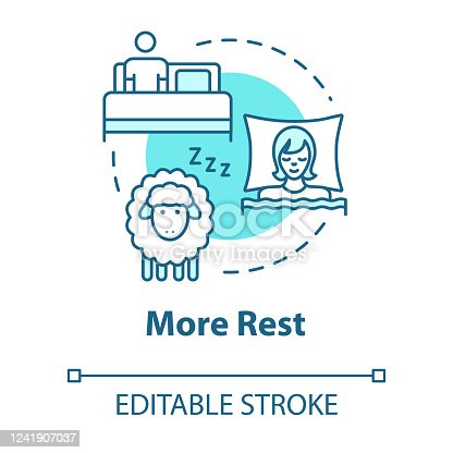 istock More rest concept icon. People sleeping. Comfortable nap. Count sheeps in bedroom. Asleep person idea thin line illustration. Vector isolated outline RGB color drawing. Editable stroke 1241907037