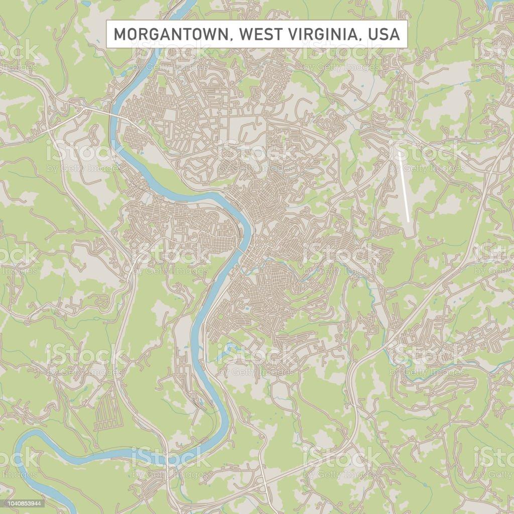 Karte Usa Westen.Morgantown West Virginia Usa Stadtstraße Karte Stock Vektor Art Und Mehr Bilder Von Blau