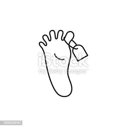 istock Morgue line icon. Pair people foot with tag. 1305326101