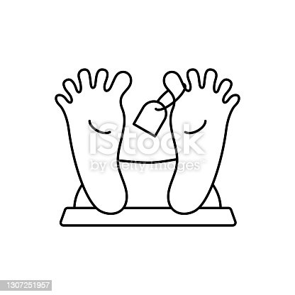 istock Morgue line icon. Pair people foot with tag. 1307251957