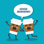 two happy and laughing cup of coffee and wish good morning