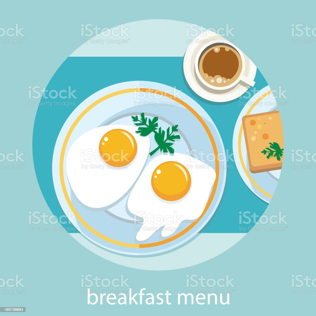 Morning breakfast menu vector art illustration