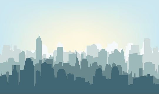 Morning city silhouette. clipart