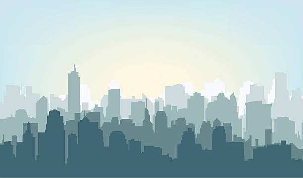 Morning city silhouette. Morning city silhouette. Silhouette of the city at sunrise cityscape stock illustrations