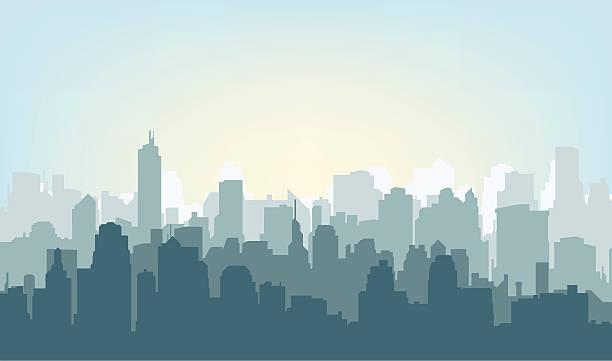 Morning city silhouette. Morning city silhouette. Silhouette of the city at sunrise ziek stock illustrations
