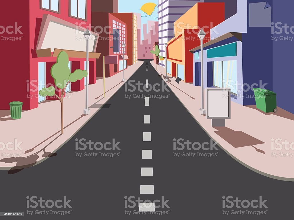 Morning cityscape comics vector art illustration