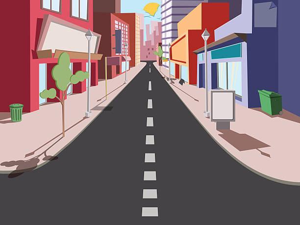 ilustraciones, imágenes clip art, dibujos animados e iconos de stock de paisaje de cómics de los mañana - señalización vial