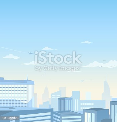 A city skyline with skyscrapers and modern office buildings under a bright, blue morning sky. Vector illustration with space for text.