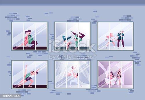 istock Morning dance class flat color vector illustration 1305561026
