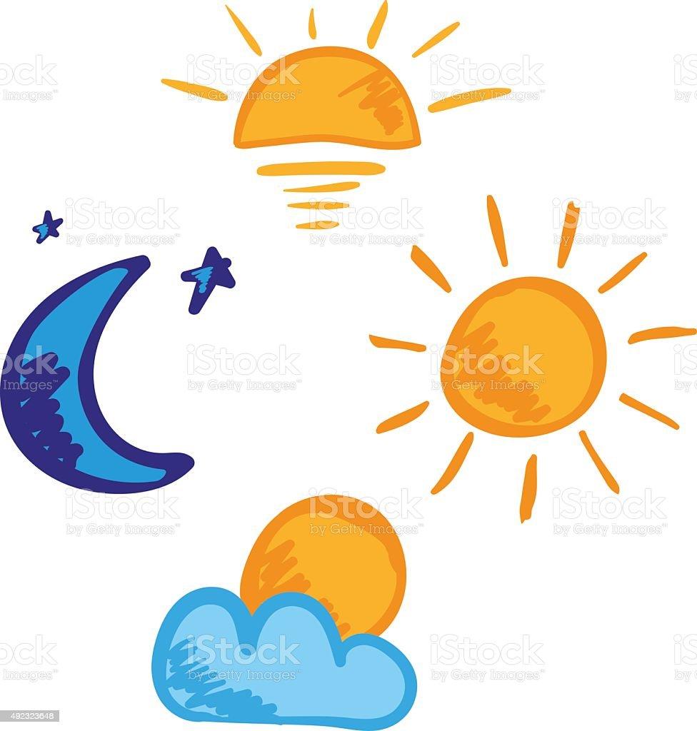 Morning day evening night icon set vector art illustration