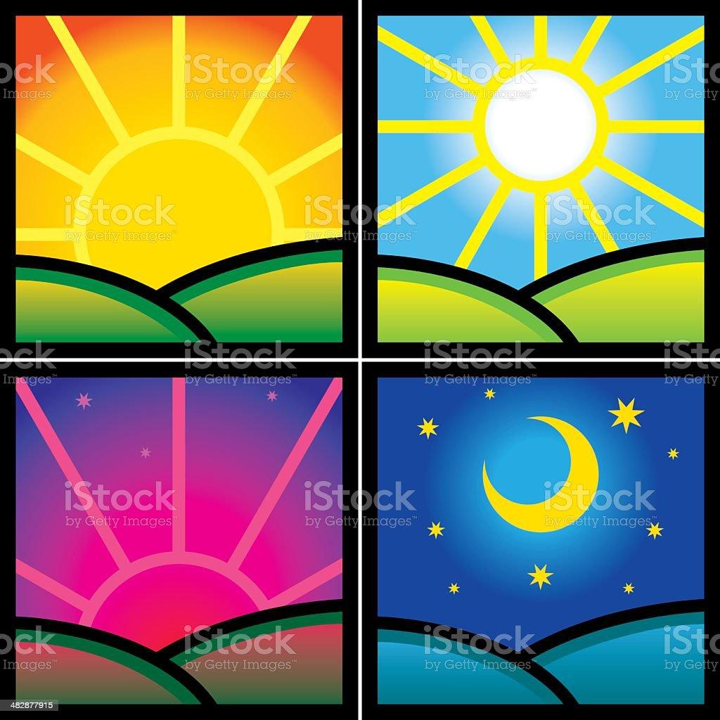 Morning day evening night vector art illustration