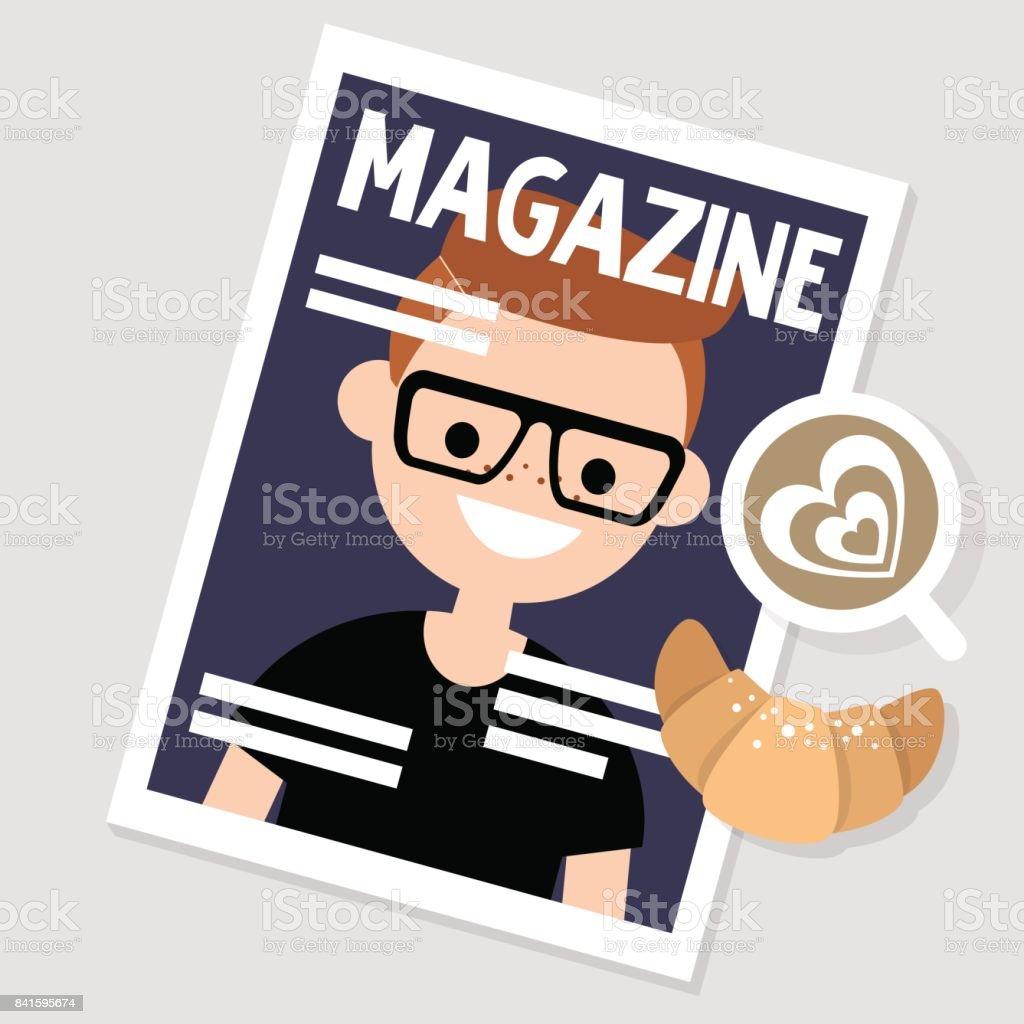 朝の習慣朝食をとりながら雑誌を読む静物編集可能なベクトル イラスト