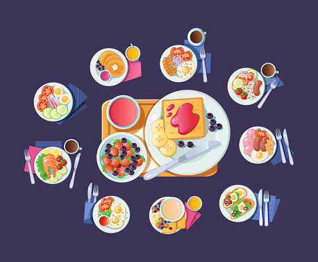 Morning healthy food top view. Breakfast dish with beverage. Breakfast dinner for healthy human nutrition vector