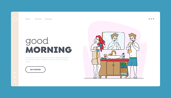 Morning Hygiene Procedure Landing Page Template. Couple in Bathroom front of Mirror Drying Hair and Brushing Teeth