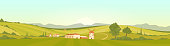 Morning in Tuscany flat color vector illustration. Italian village at dawn 2D cartoon landscape with windmills and buildings. Vast agricultural fields in rural area. Colorful countryside at sunrise