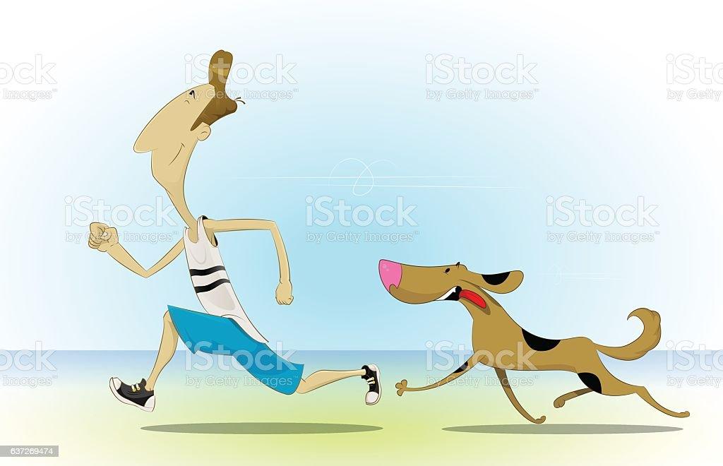 Morning jog on beach with dog vector art illustration