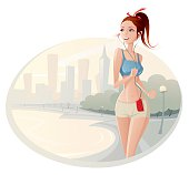 the illustration of the women running in the morning. The Woman and background are divided on layer.