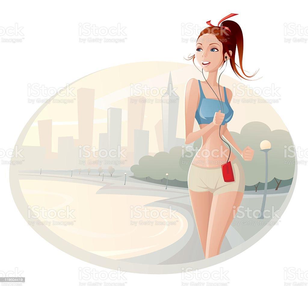 morning jogging vector art illustration