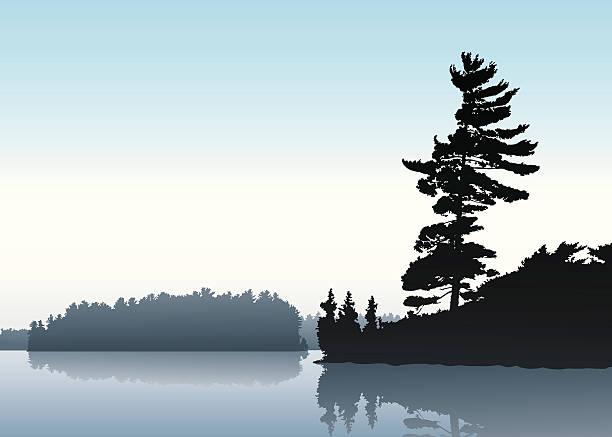 朝の湖 ベクターアートイラスト