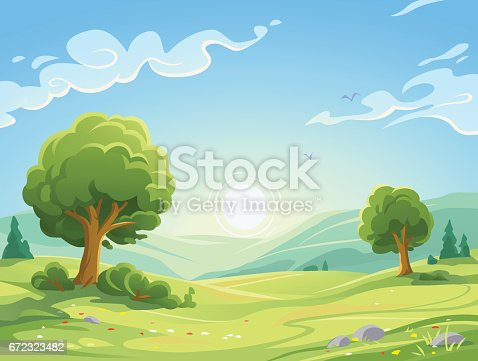 Vector illustration of a sunrise over a beautiful rural landscape with trees, bushes, hills and green meadows. Illustration with space for text.