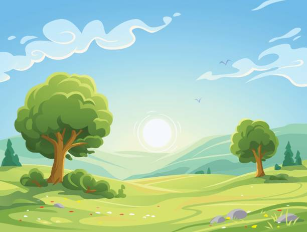 stockillustraties, clipart, cartoons en iconen met ochtend landschap - natuur