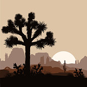 Morning landscape with Joshua tree, prickly pear, and mountains over sunrise. Vector illustration.