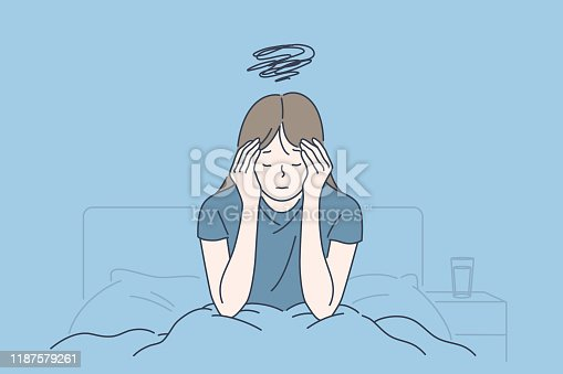 Morning migraine, chronic fatigue and nervous tension, stress or flu symptom, hard to wake up concept. Young woman with strong headache, tired and exhausted girl holding head. Simple flat vector