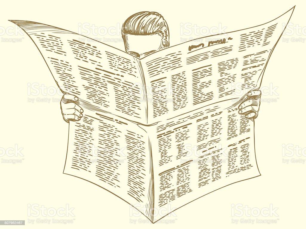 morning newspaper vector art illustration
