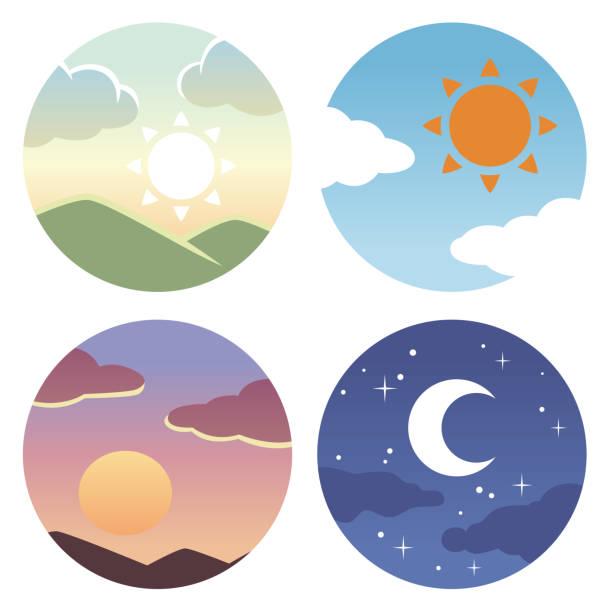 朝、正午、夕方の円のアイコン ベクターアートイラスト