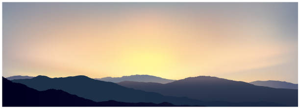 Morning panoramic landscape vector art illustration