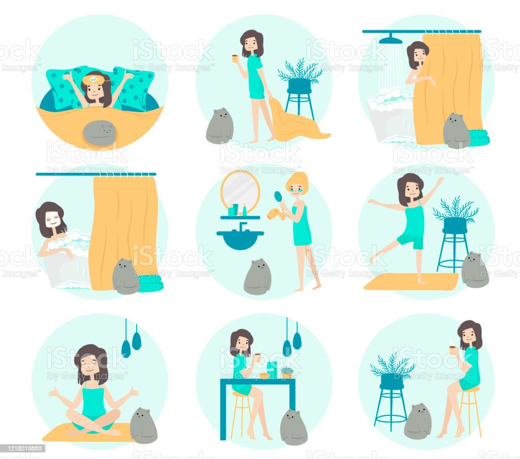 Morning Routine Of A Girl Set Sleeping Washing Body Care Fitness Yoga Coffee Breacfast Daily Routine Activities Life With Catvector Flat Stock Illustration Download Image Now Istock