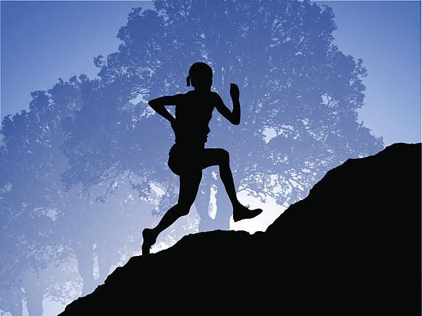 bildbanksillustrationer, clip art samt tecknat material och ikoner med morning run - jogging hill