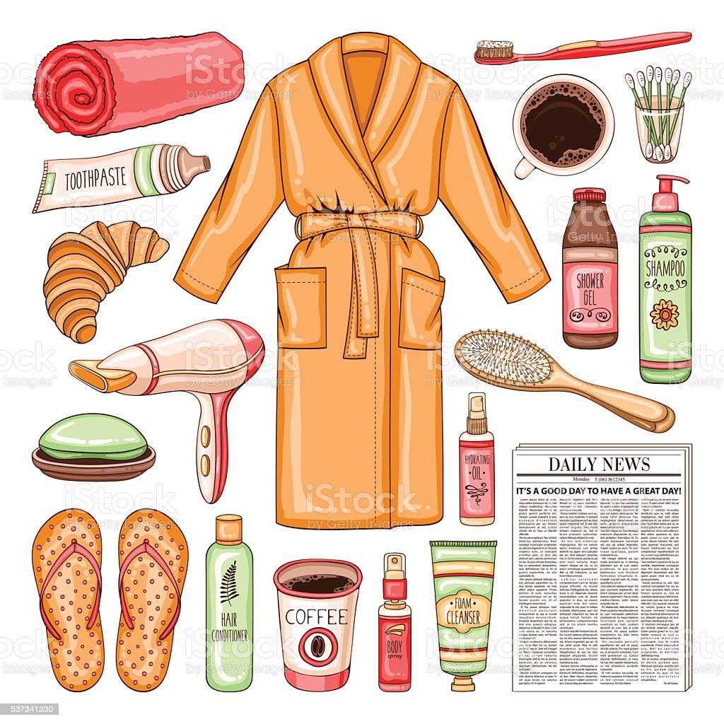 Morning set with newspaper, coffee, bathrobe, hygiene tools and vector art illustration