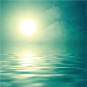 Vector illustration of the sun over the water.