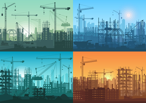 Morning sunrise, sunset and day building constructions background set. Vector Industrial building process under construction.