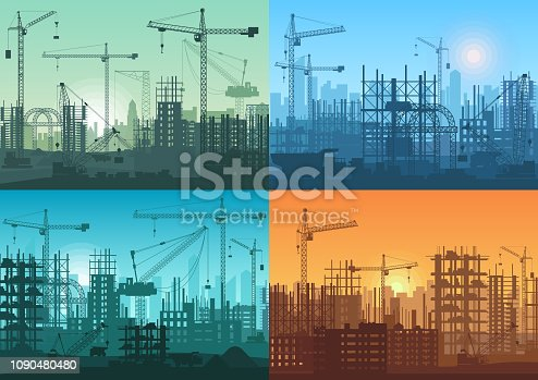 Morning sunrise, sunset building constructions background set. Industrial building process under construction