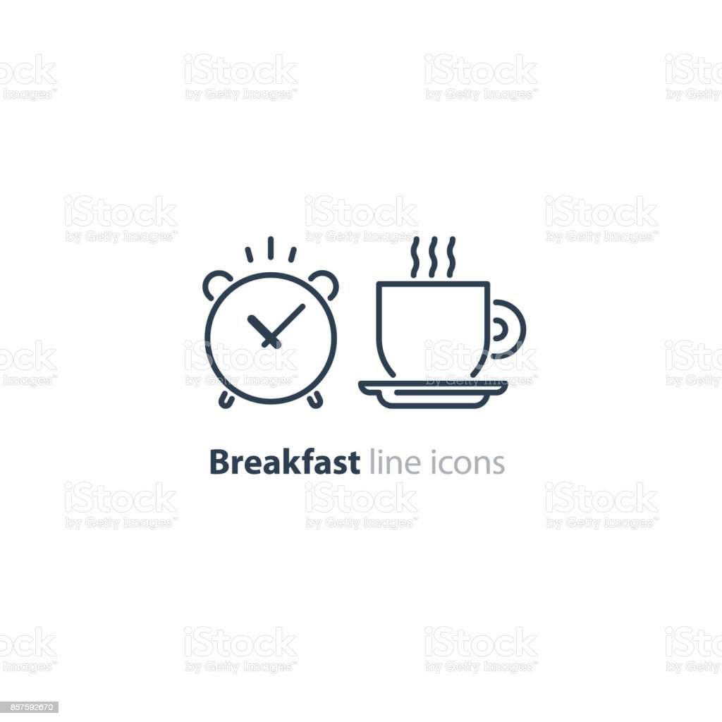 Morning tea cup icon, alarm clock, breakfast coffee vector art illustration